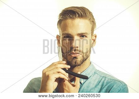 Handsome Bearded Man, Hipster With Beard And Moustache Ready For Shave. Bearded Man With Long Beard,