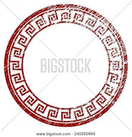 Greek Classic Round Frame Grunge Textured Template. Vector Draft Element With Grainy Design And Corr