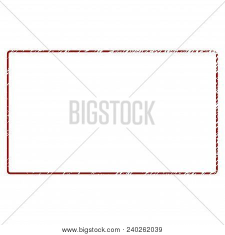Rounded Rectangle Frame Distress Textured Template. Vector Draft Element With Grainy Design And Dist