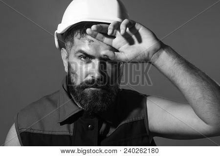 Builder Working With Construction Helmet. Portrait Of Mechanical Worker. Close Up Engineers Working.