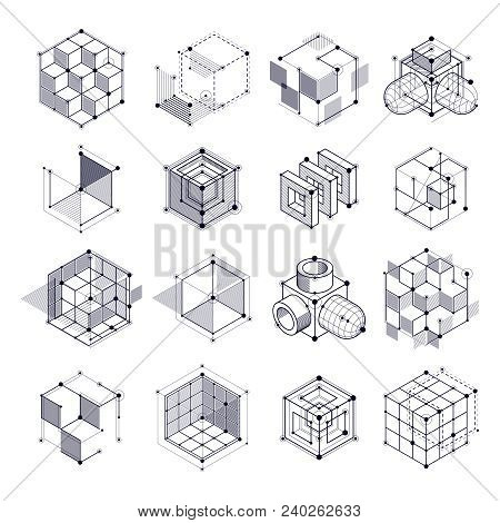 Geometric Technology Vector Black And White Drawings Set, 3d Technical. Illustration Of Engineering