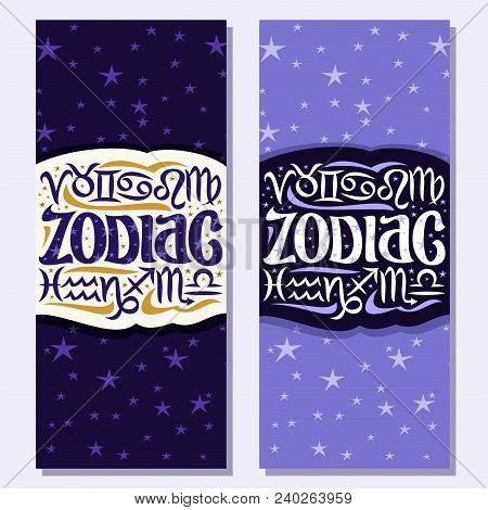 Vector Vertical Banners For Zodiac Symbols, 12 Astrology Signs For Predicting Horoscope On Blue Cosm