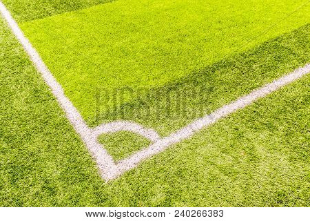 Corner Line Of The Artificial Practice Football Field In Urban, Daytime, Artificial Grass Field