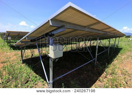 Fuse Box Of Solar Farm Installed Under Pv Panels