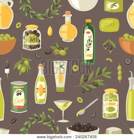 Olive Vector Oliveoil Bottle With Virgin Oil And Olivaceous Ingredients For Vegetarian Food Illustra