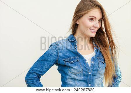 Happiness And Joy. Smiling Positive Girl Portrait. Charming Joyful Woman Wearing Fashionable Stylish