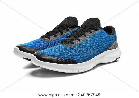Unbranded Modern Sneaker Isolated On A White Background. Blue Sport Shoes.
