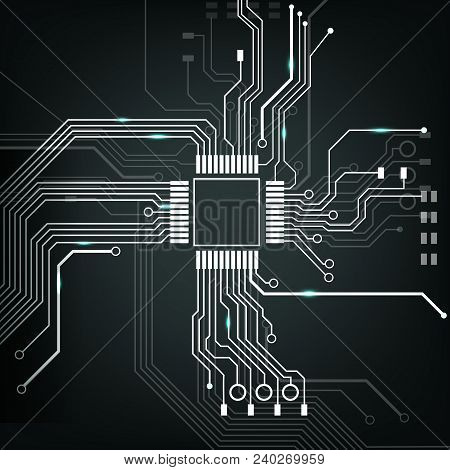 Vector Abstract Electronic Circuit Board With Processor Top View Close Up