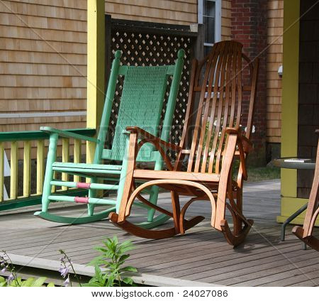 Rocking Chairs On A Victorian Porch House