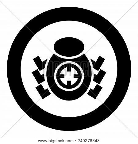 Bug Beetle In Target Sight Icon Black Color Vector Illustration Simple Image Flat Style