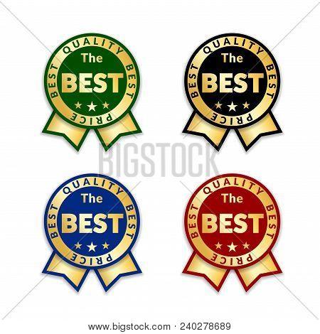 Ribbons Award Best Price Label Set. Gold Ribbon Award Icon Isolated White Background. Best Quality G