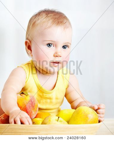 Little Baby With Fruits