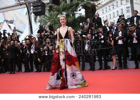 Amber Heard attends the screening of 'Sorry Angel' during the 71st annual Cannes Film Festival at Palais des Festivals on May 10, 2018 in Cannes, France.