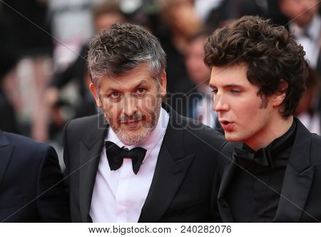 Vincent Lacoste, Christophe Honore  attend the screening of 'Sorry Angel' during the 71st annual Cannes Film Festival at Palais des Festivals on May 10, 2018 in Cannes, France.