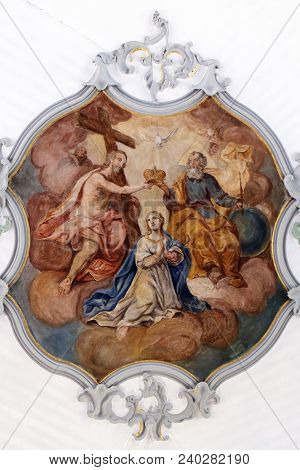 ROSENBERG, GERMANY - JULY 04: Coronation of the Virgin Mary, fresco on the ceiling of the Church of Our Lady of Sorrows in Rosenberg, Germany on July 04, 2017.