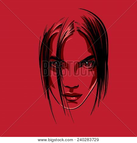 Beautiful Girl Portrait. Vector Illustration Contrast Element