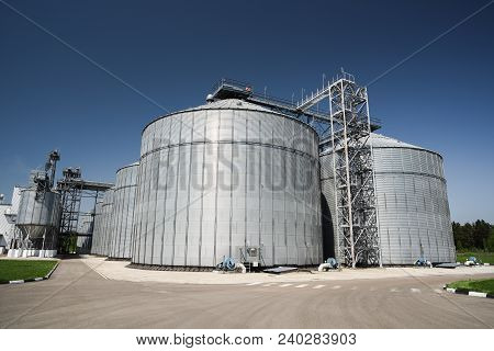 Modern Granary. Agro-industry Storage Technology In Animal Feed Factory. Big Metal Containers For Gr