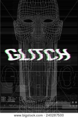 Glitch Screen. The Face Of The Man Who Screams Is A Huge Mouth. Horror In The Style Of A Screen Erro