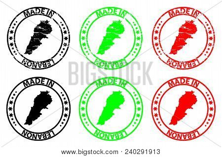 Made In Lebanon - Rubber Stamp - Vector, Lebanon Map Pattern - Black, Green And Red