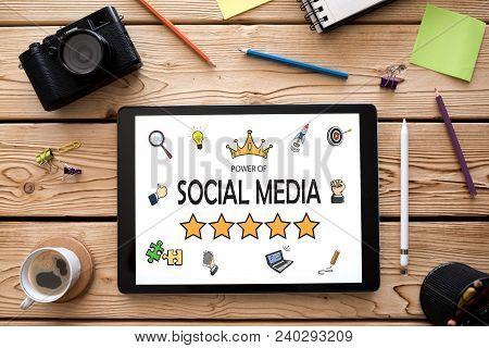 Power Of Social Media Concept On Digital Tablet