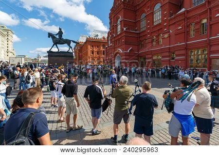 Moscow, Russia, August 24, 2017: Rehearsal Of The Orchestra Of Bagpipes On The Manezhnaya Square, Mo