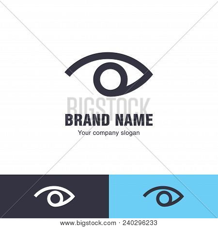 Eye Vector Logo Design Template. Modern Minimal Flat Design Style. Vector Illustration.