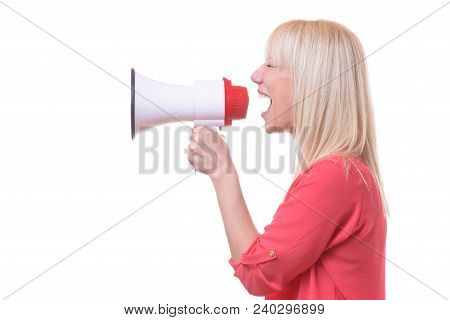 Young Blond Woman Shouting Into A Megaphone Or Bull Horn Isolated On White Conceptual Of A Demonstra