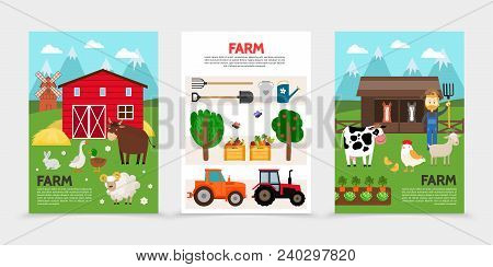 Flat Farm And Agriculture Posters With Animals Barn Hay Windmill Shovel Forks Watering Can Tractors