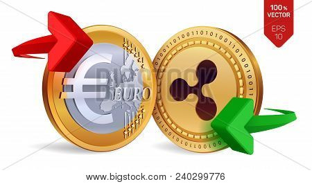 Ripple To Euro Currency Exchange. Ripple. Euro Coin. Cryptocurrency. Golden Coins With Ripple And Eu