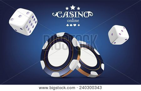 Casino Poker Chips And Dice. Casino Game 3d Chips. Online Casino Banner. Blue Realistic Chip. Gambli