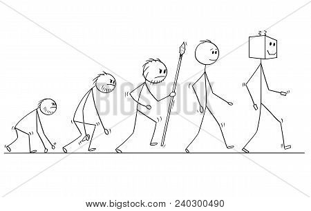 Cartoon Stick Man Drawing Conceptual Illustration Of Human Evolution Process Progress. Modern Human