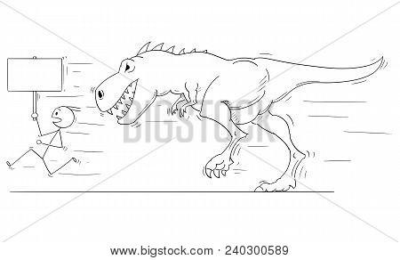 Cartoon Stick Man Drawing Conceptual Illustration Of Businessman Running Away From Tyrannosaurus Or
