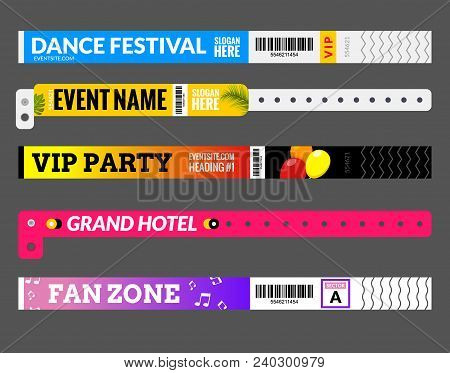 Entrance Bracelet At Concert Event Zone Festival. Access Id Template Design. Perfoming Carnival Or D