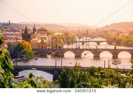 Bridges Of Prague Over Vltava River On Sunny Summer Day. Scenic View From Letna. Prague, Czech Repub