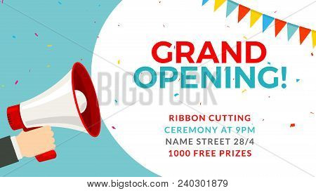 Grand Opening Flyer Banner Template. Marketing Business Concept With Megaphone. Grand Opening Advert