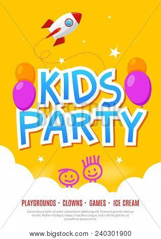 Kids Fun Party Celebration Flyer Design Template. Child Event Banner Decoration. Birthday Invitation
