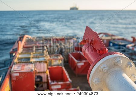 Closeup View Of Vessel Fire Fighting System, Which Covers Main Deck Of Offshore Supply Vessel At Sea