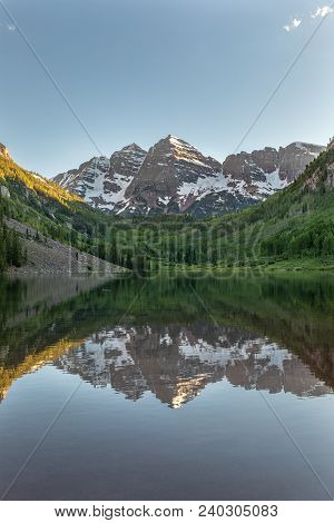 A Scenic Summer Reflection Landscape Of The Maroon Bells In Maroon Lake Aspen Colorado