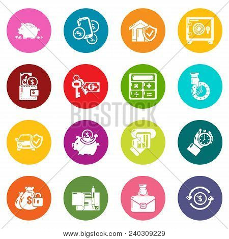 Credit Icons Set Vector Colorful Circles Isolated On White Background
