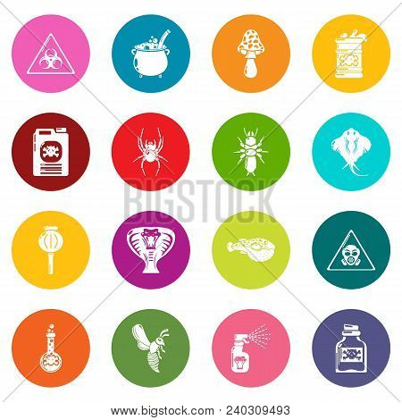 Poison Danger Toxic Icons Set Vector Colorful Circles Isolated On White Background