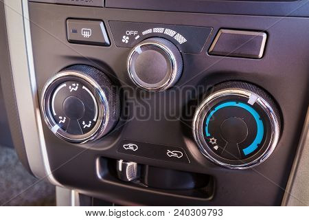 Detail Of The Air Conditioning Button Control Inside A Car.