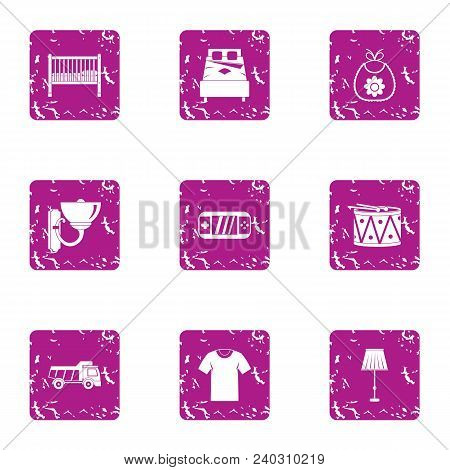 Vital Space Icons Set. Grunge Set Of 9 Vital Space Vector Icons For Web Isolated On White Background