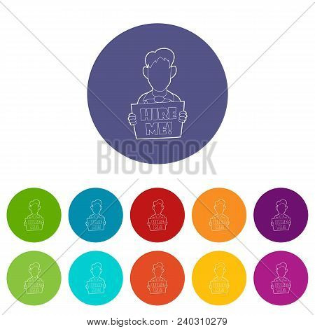 Businessman Holding Sign Board With Hire Me Inscription Icon In Outline Style On A White Background