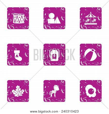 Holidays For Juvenile Icons Set. Grunge Set Of 9 Holidays For Juvenile Vector Icons For Web Isolated
