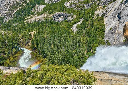 Vernal Falls View From The Top With Rainbow Rocks And Valley In Yosemite National Park