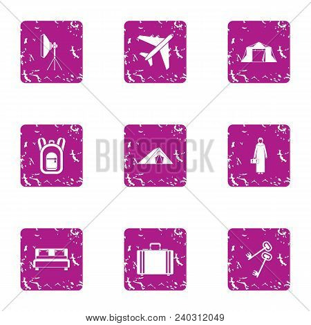 Business Tourism Icons Set. Grunge Set Of 9 Business Tourism Vector Icons For Web Isolated On White