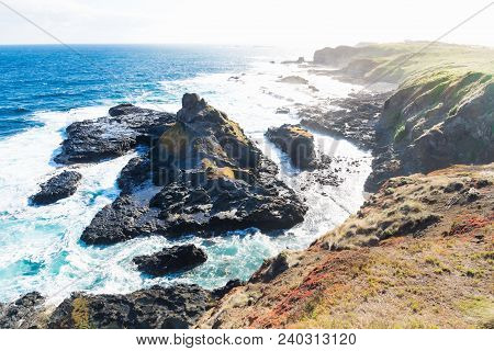 View From Southpoint Lookout To Rugged Rock In The Ocean With Strong Waves At The Nobbies, Phillip I