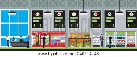 Supermarket Interior Vector Illustration In Flat Style With High Detailed. Customers Buy Products At