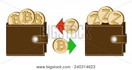 Exchange Bitcoin To Zcash Between Wallets On A White Background , Exchange Cryptocurrency In The Wal