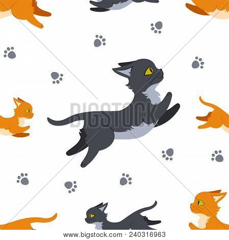 Seamless Pattern Design With Leaping Cats And Paw Prints. Can Be Used As A Background, On Packaging